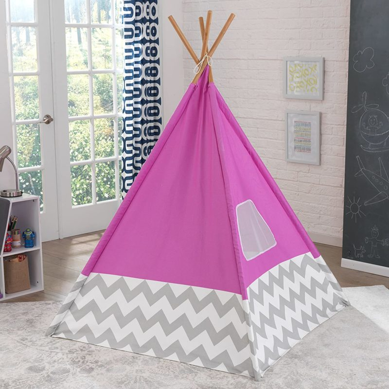 Pink teepee with grey chevron base