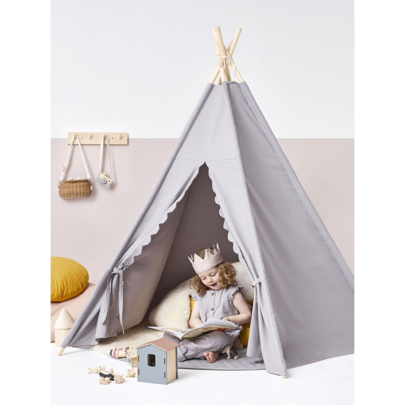 Grey fabric play tent