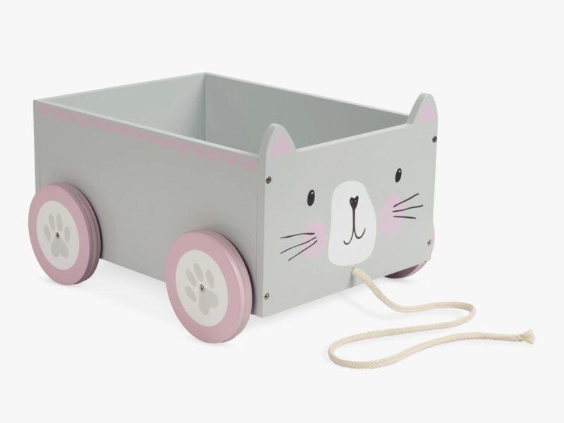 Grey cat themed book cart