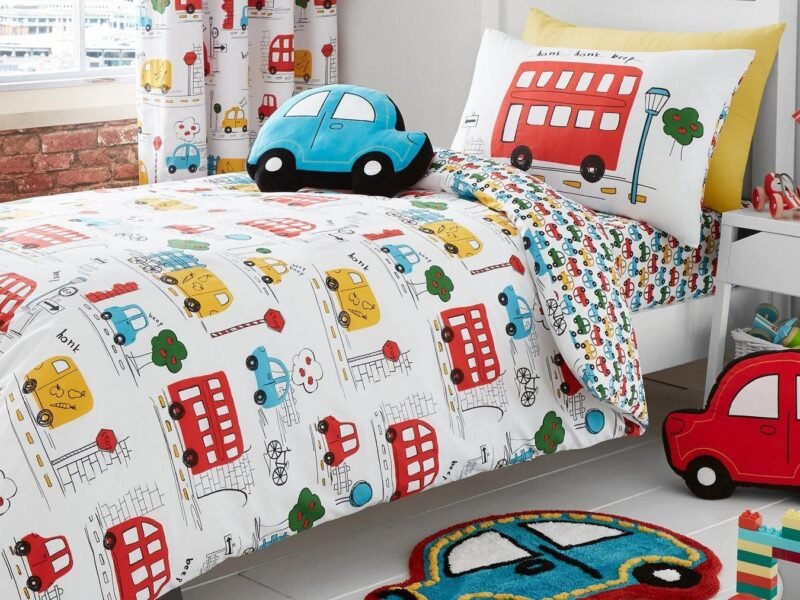 Kid's bedding with cars, buses and vans print