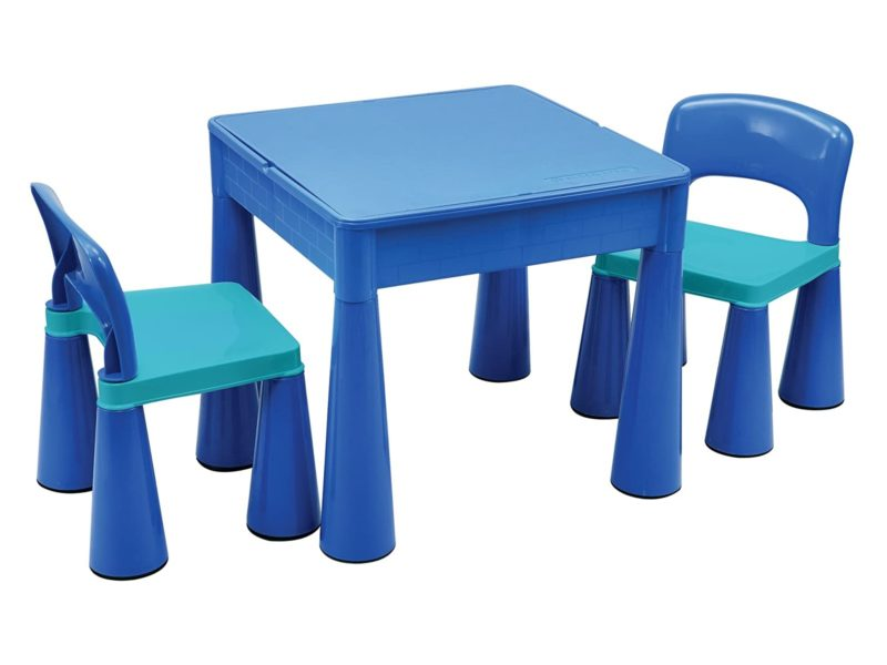 Blue play table and 2 chairs