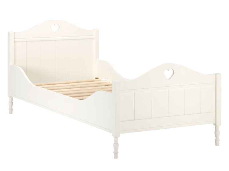 Ivory-painted children's bed with heart cut-outs