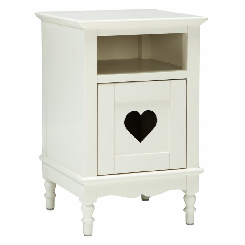 Ivory bedside table with heart cut-out in the door