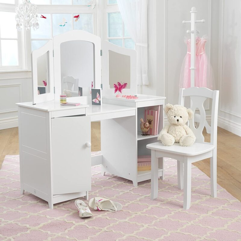 White-painted vanity with mirror and storage