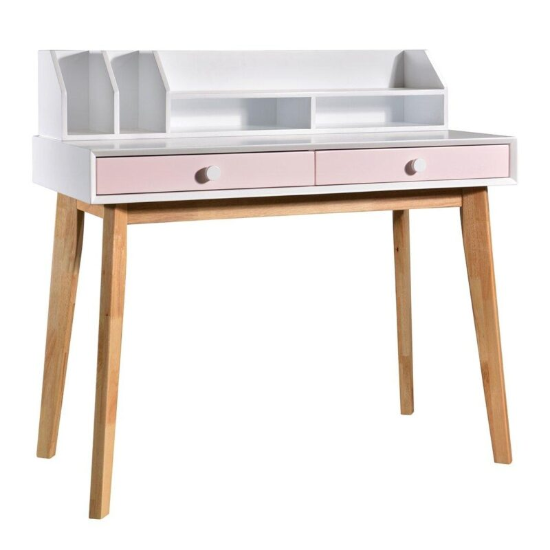 Retro-style desk with pink drawers