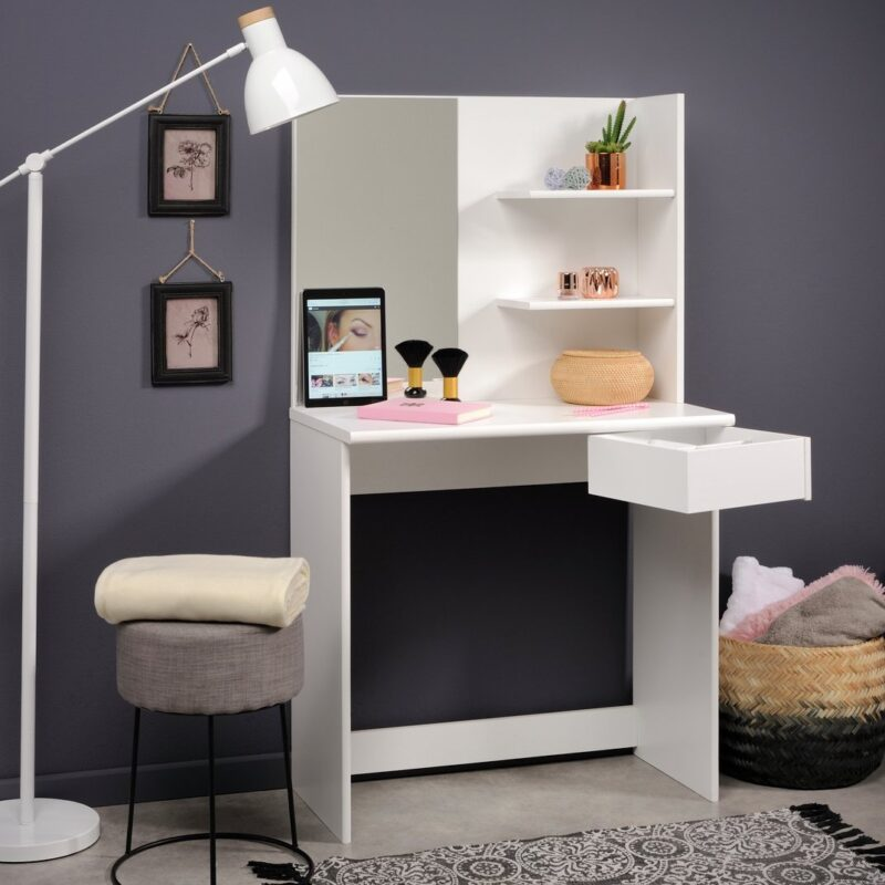 Contemporary dressing table with shelves and drawer