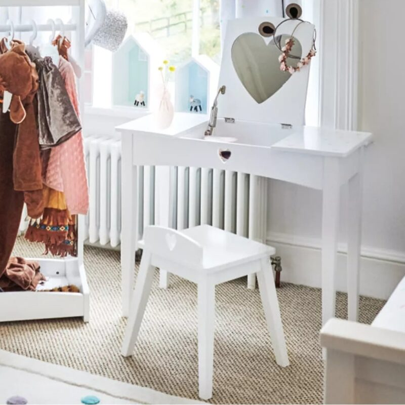 White dressing table and stoll with heart-shaped cut out