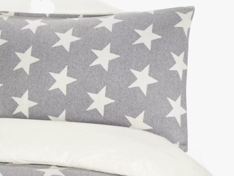 Grey jersey bedding with white star motifs