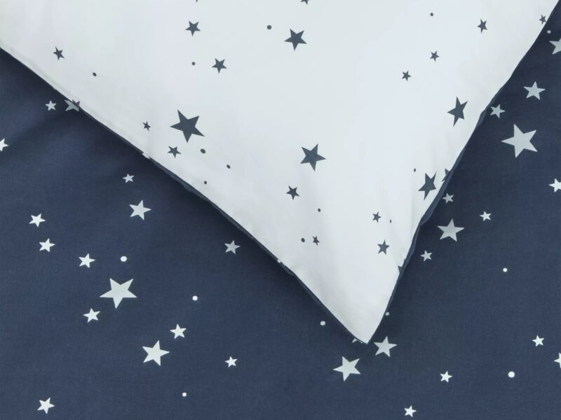 Navy bedding with white stars print
