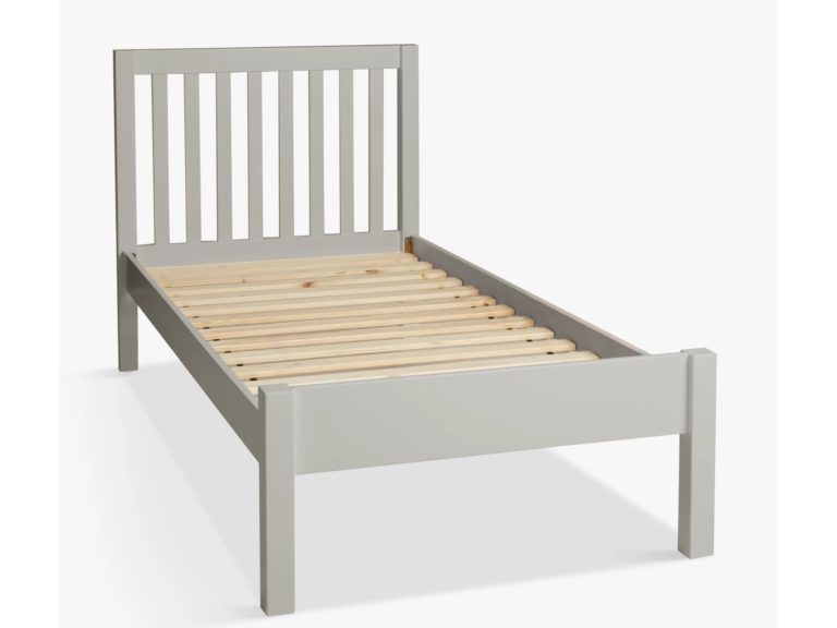 Grey-painted single bed frame