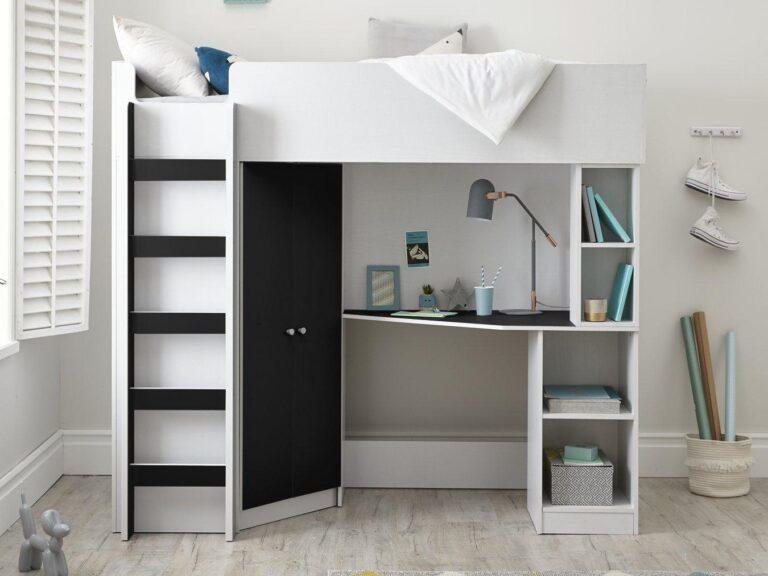 Black/white mid-sleeper with storage