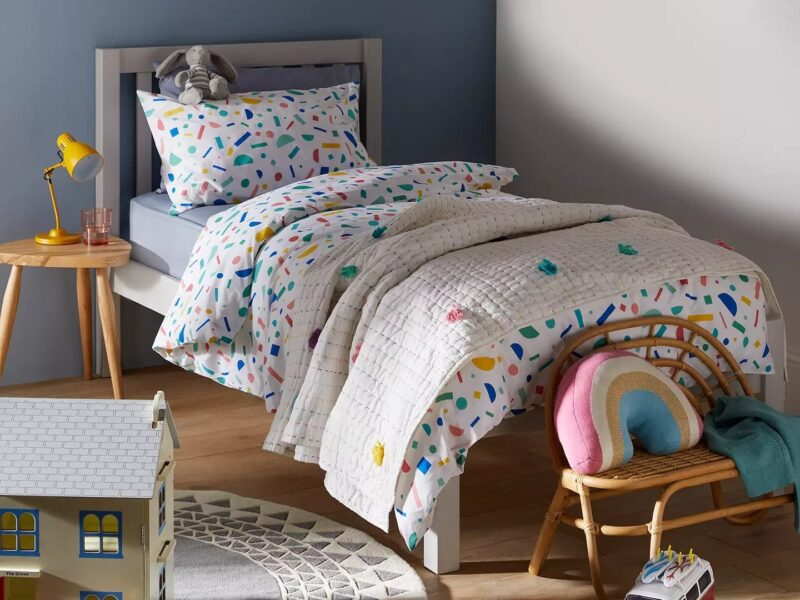 Grey painted child's bed