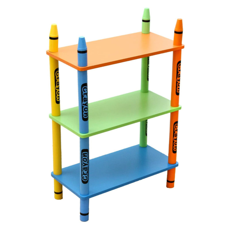 3-tier crayon themed shelving unit