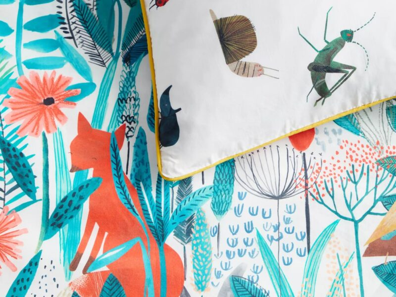 Wildlife and floral themed bedding