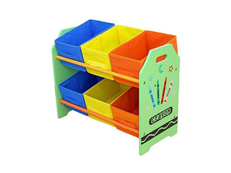 Green storage unit with blue, yellow and orange storage bins