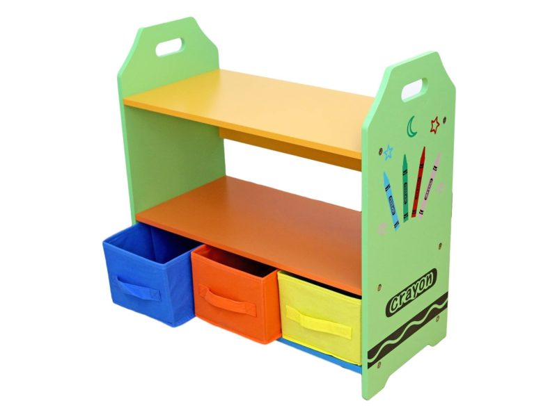 Kid's shelving unit with 3 storage bins