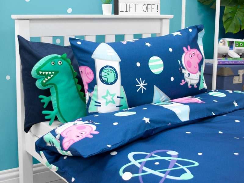 Blue Peppa Pig Space Themed Bedding Set