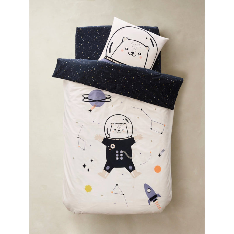 Cute astronaut themed bedding set with glow in the dark stars
