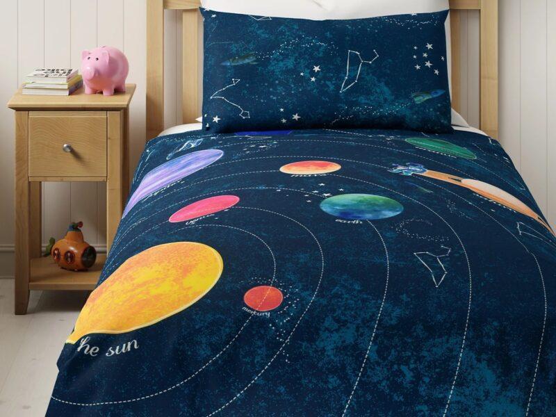 Deep blue space themed bedding set