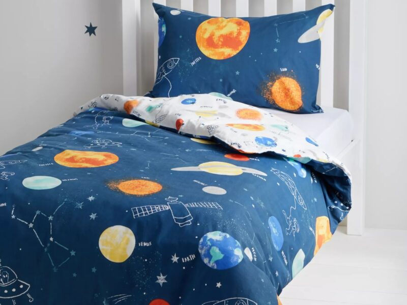 Plantes and space ships print bedding