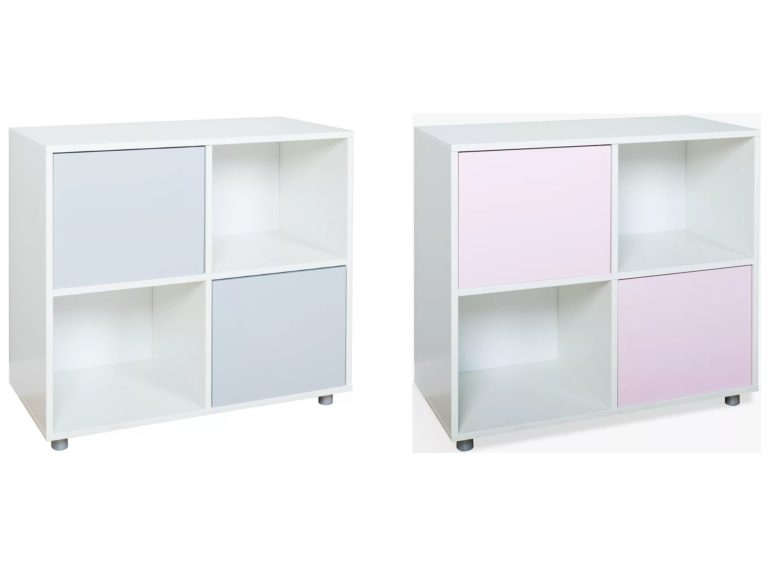 Cube storage units grey and pink