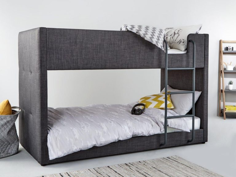 Grey fabric upholstered bunk bed