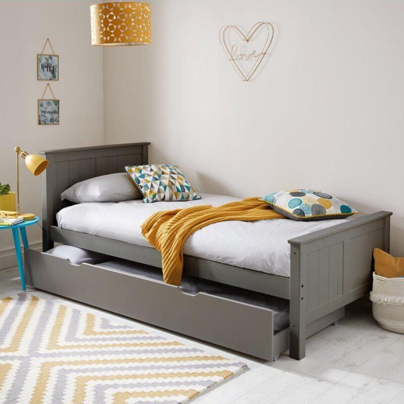 Grey-painted kid's bed