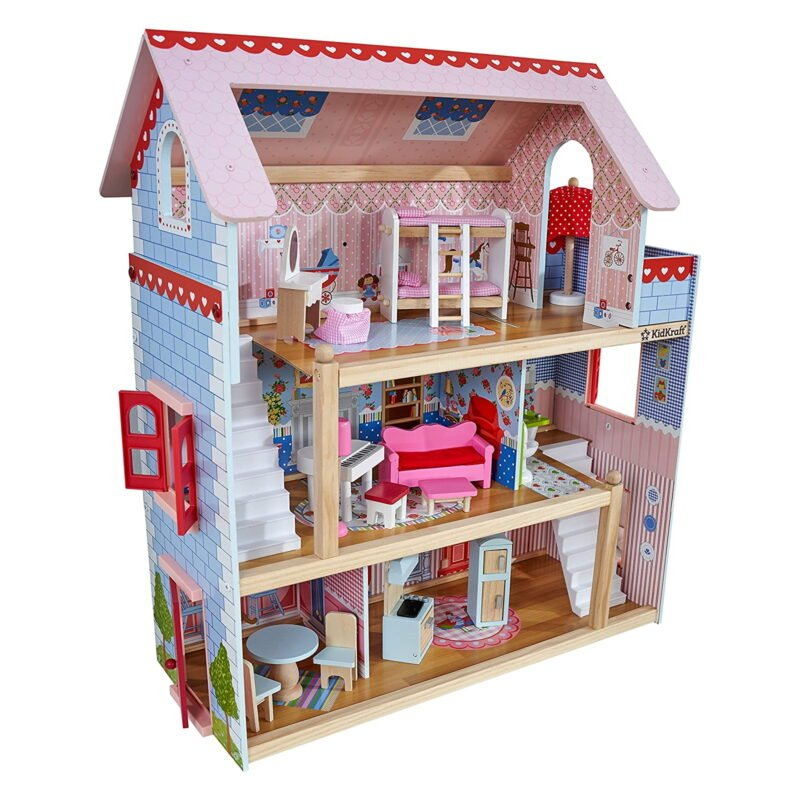 3-tier open doll's house with accessories