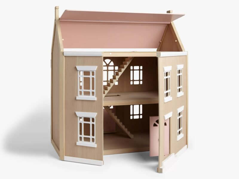 Wooden doll's house with lift up roof and hinged front
