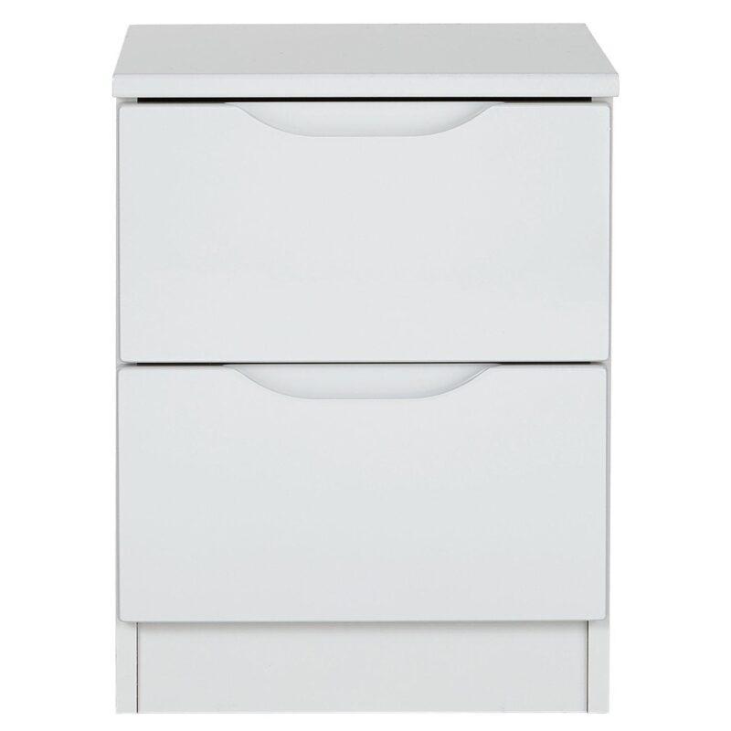 2-drawer grey gloss bedside unit