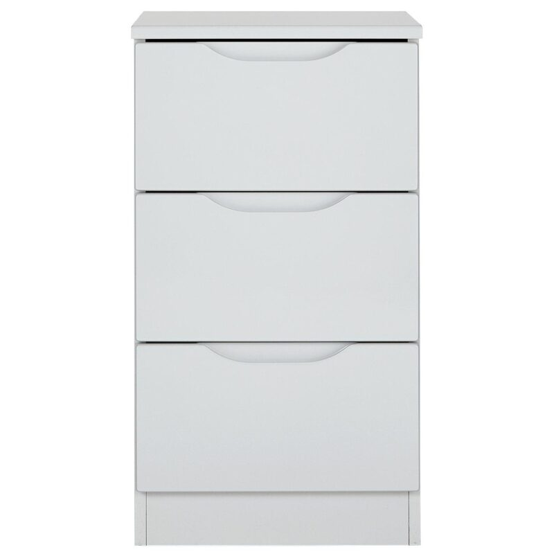 Grey gloss 3-drawer bedside chest