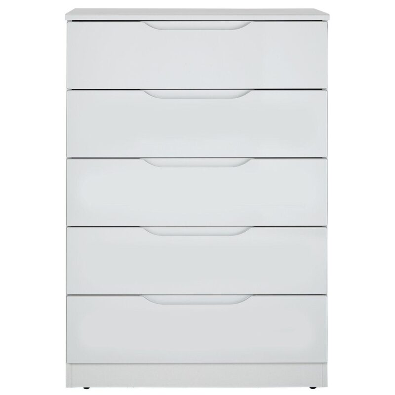 Gloss finish 5-drawer wide chest