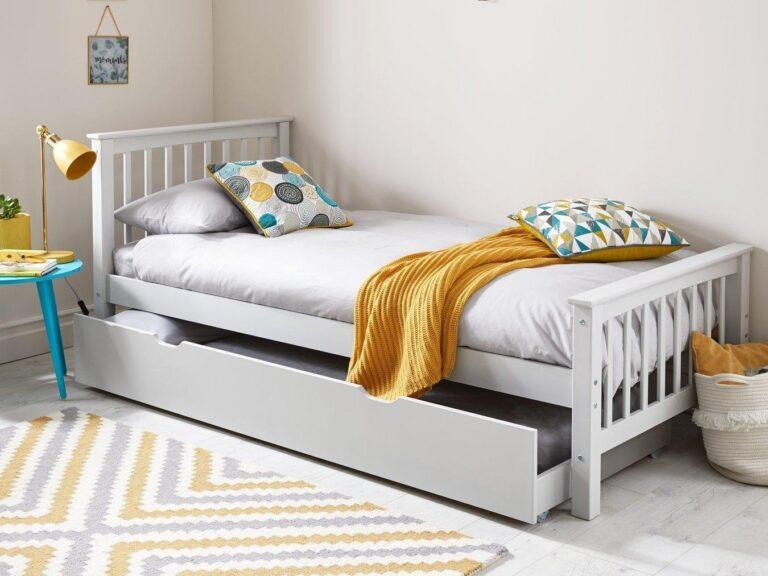 White-painted children's bed frame