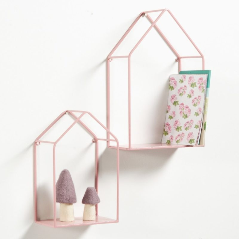Pink house-style floating shelves