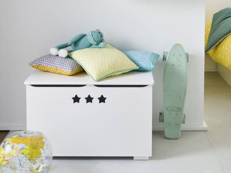 White toy chest with star cut-outs