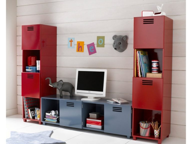 Red and grey locker-style furniture