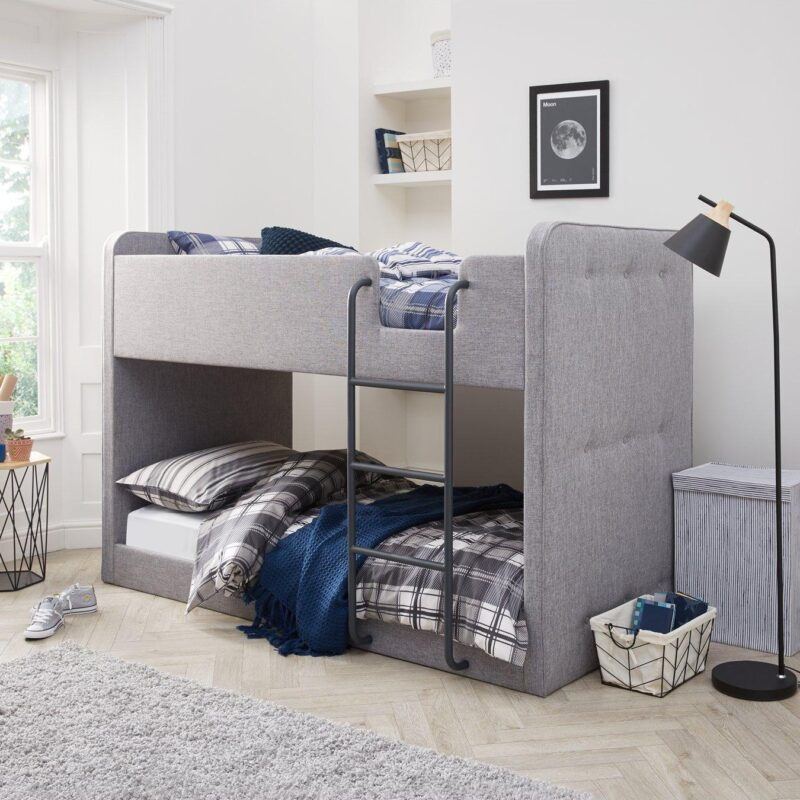 Grey fabric upholstered bunk bed with fixed ladder