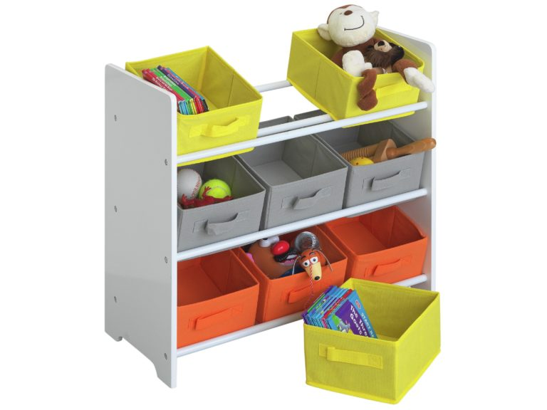 Kid's storage unit with coloured canvas drawers