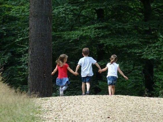Siblings walking together