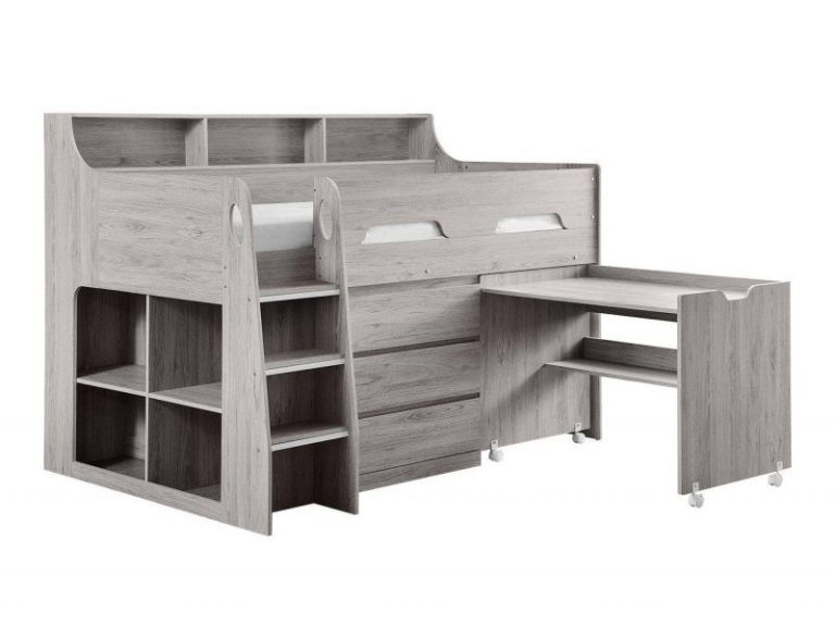 Storage mid sleeper with grey woodgrain finish