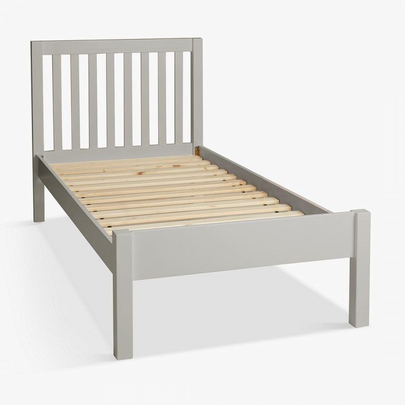 Child's single bed with grey-painted frame
