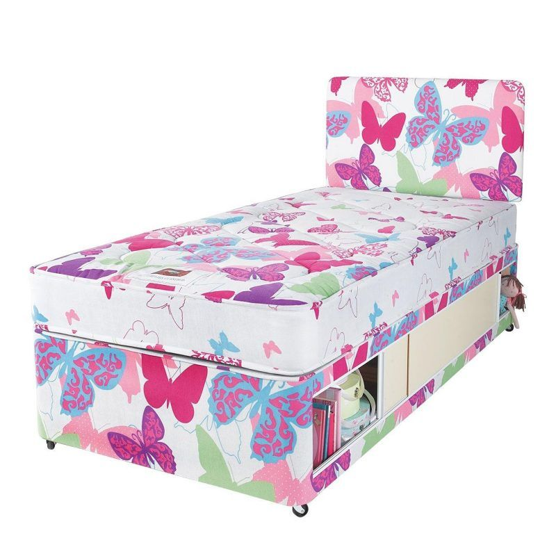 Single storage divan with butterfly print