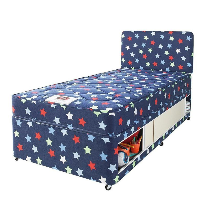 Single storage divan with stars print