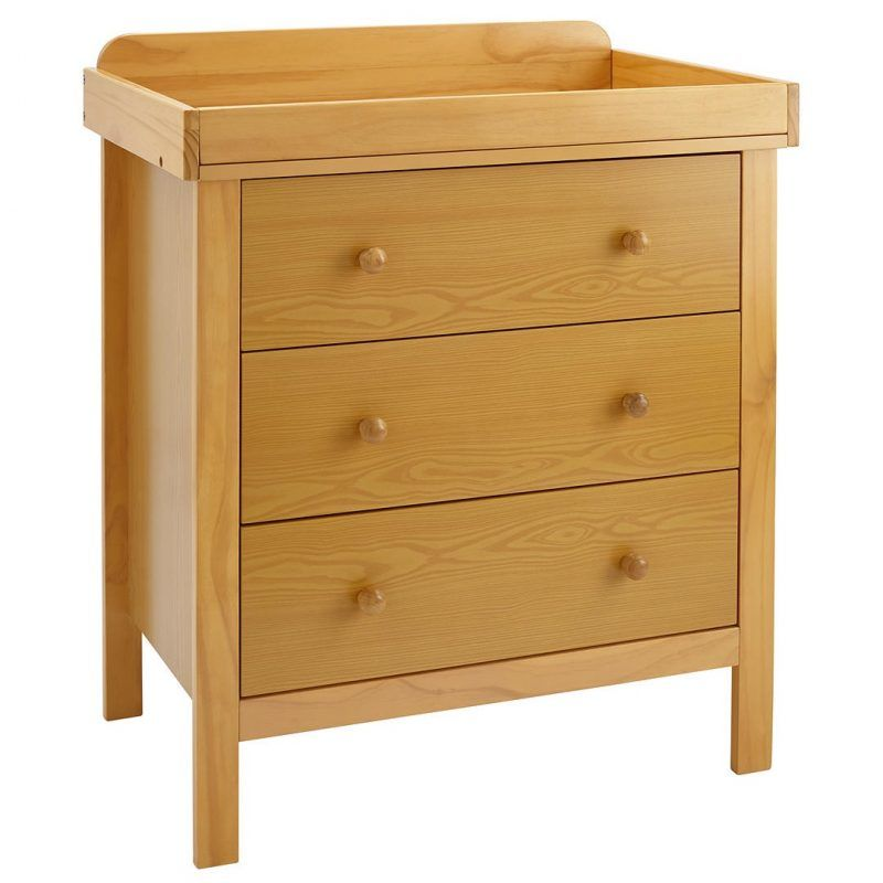 Nursery drawer chest with natural finish