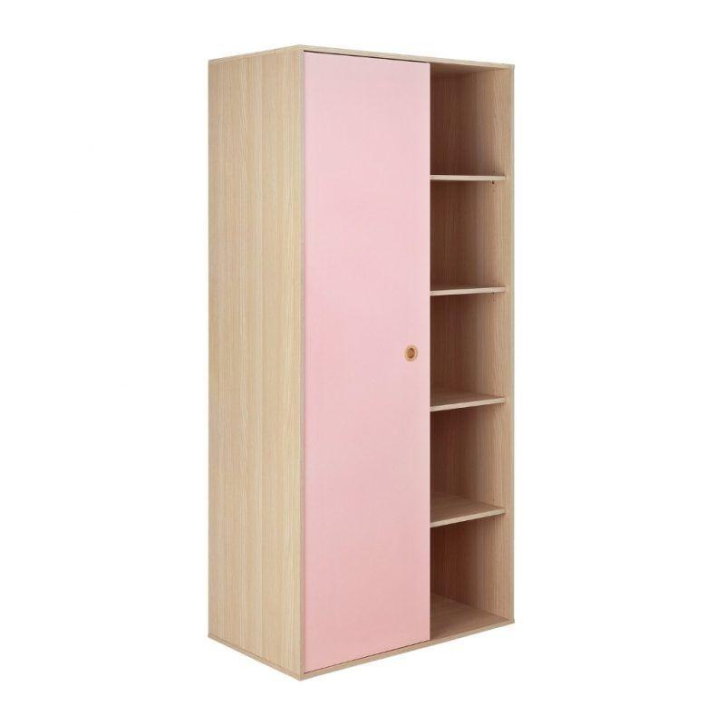 Single door wardrobe with external shelves