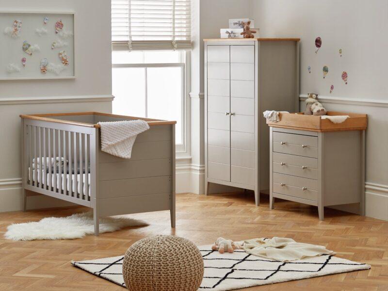 Grey-painted nursery furniture set