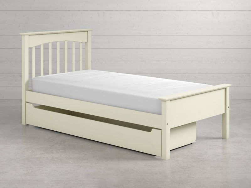 Ivory single bed with storage drawer