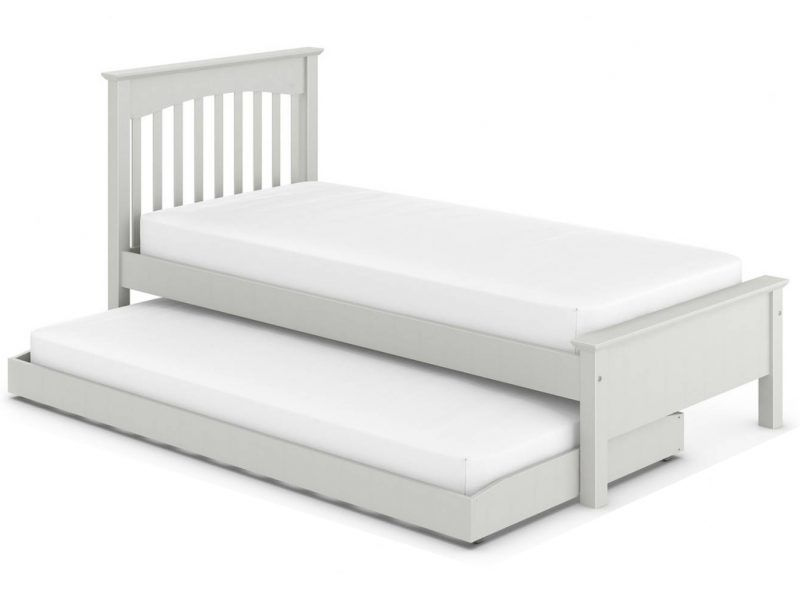Grey painted bed frame with pull-out guest bed