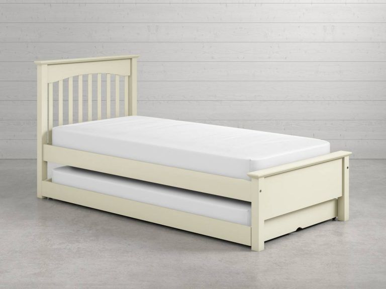 Ivory single bed with pull-out guest bed
