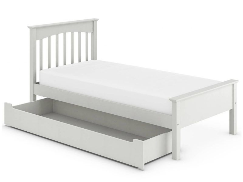 Grey-painted single bed with storage base